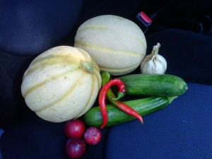 July fruits - cantaloupe, zucch, plums, garlic, peppers