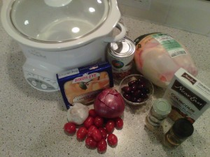 Crock Pot with ingredients