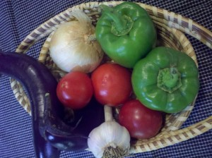 Summer Eggplant, peppers, tomatoes, garlic, onion for recipe