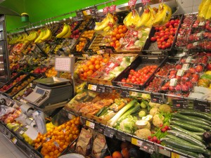In Vienna, Austria, even a tiny grocery store sells lots of healthy produce!