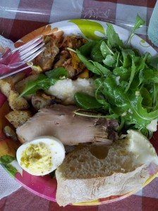 My delicious lunch plate at a local farm included local arugula salad, egg, potatoes, chicken.