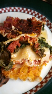 Lasagne with butternut squash and kale