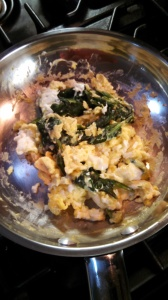 Spinach and egg cooked