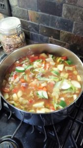 Pot of veg soup
